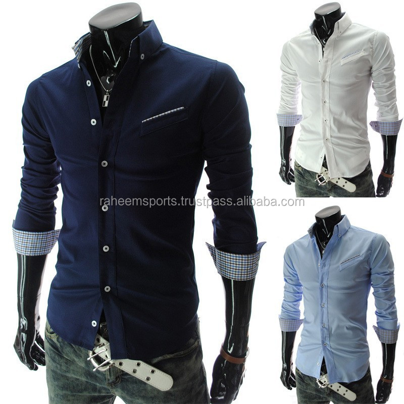 2015 Style New Fashion Mens Luxury Long Sleeve Casual Slim Fit Stylish Dress Shirts