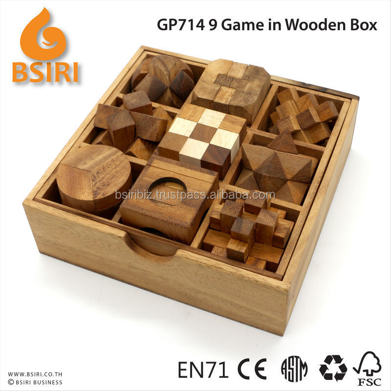 9 Classic Wooden Game in box Brain Teaser Puzzle