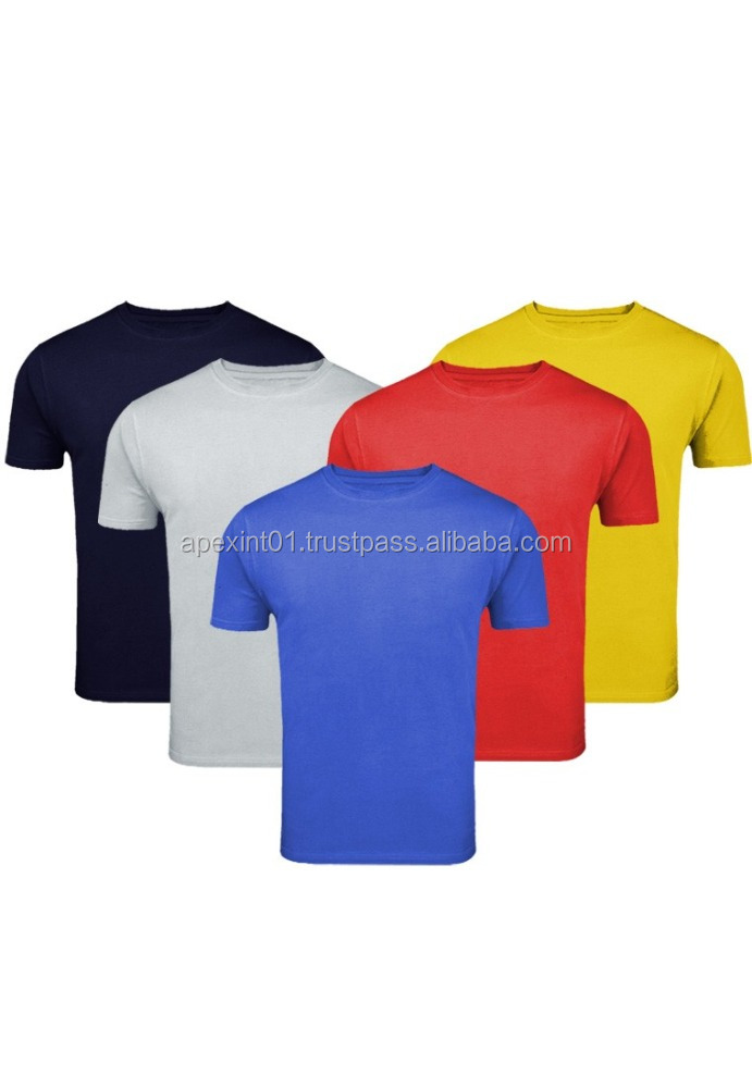 O neck t shirts-Plain cotton t-shirt Men's pre-shunk cotton blank plain O neck t shirts wholesale in Garment factory