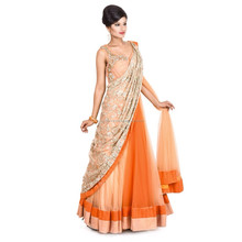 Indian Traditional Wedding Designer wholesale Being golden Orange evening dress, sale evening dress, 2010 evening dress
