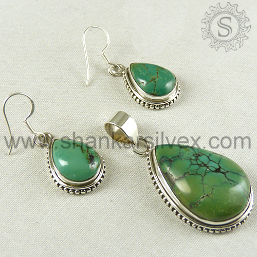 Jewelry Sale !! Turquoise 925 Sterling Silver Wedding Bridal Jewelry Set /Alibaba Indian made 925 Silver Jewelry 3SCB2023-1