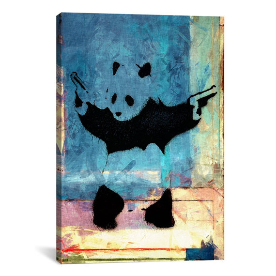 Panda With Guns Original Thought Worth a Thousand Quotings Canvas Art Print 20 x 24 inch