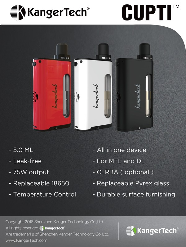 New arrival all in one device top filling leak-free 75W temperature control CUPTI,Kangertech CUPTI
