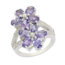 "Fashion Women Flower Shape Jewelry Ring, Shining Tanzanite ""AA"" Gemstone Silver Ring, Real Stone Silver Ring Jewelry"