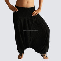 Wholesale Black Aladin harem pants-Rayon Trouser Cotton Harem Pant Hindu Ropa Wholesale sarouel Vetement India Pantalon Baggy