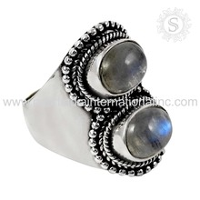 Magnificent Rainbow Moon Stone Handmade Silver Ring 925 Sterling Silver Jewellery