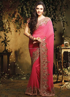 Hot pink Saree,Bridal sari