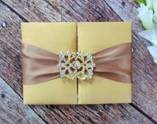 Luxurious Gold Silk Wedding Invitation Folio With Gold Satin Ribbon And Rhinestone Brooch Buckle