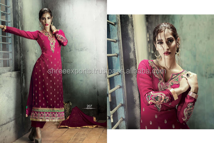 Georgette Hot Pink Embroidered Work Designer Straight Salwar Kameez