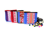 One-of-a-Kind Leather Cross-Body Handbag with Vintage Hmong Fabric Thailand