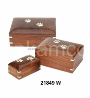 Wooden Pet Urn with Paw Inlay 3/Pcs for Dogs