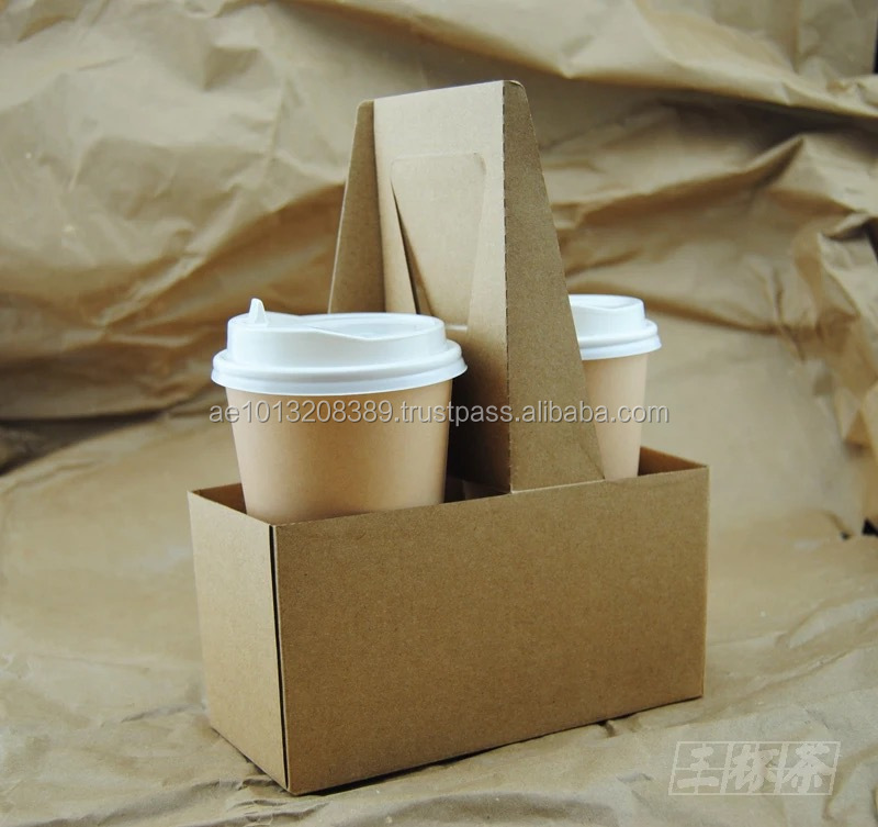 Compostable and eco friendly pulp mould coffee cup carrier