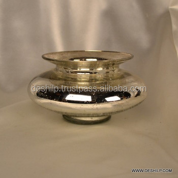 SILVER GLASS BOWL SHAPE FLOWER VASE ROUNDS SHAPE HEAD