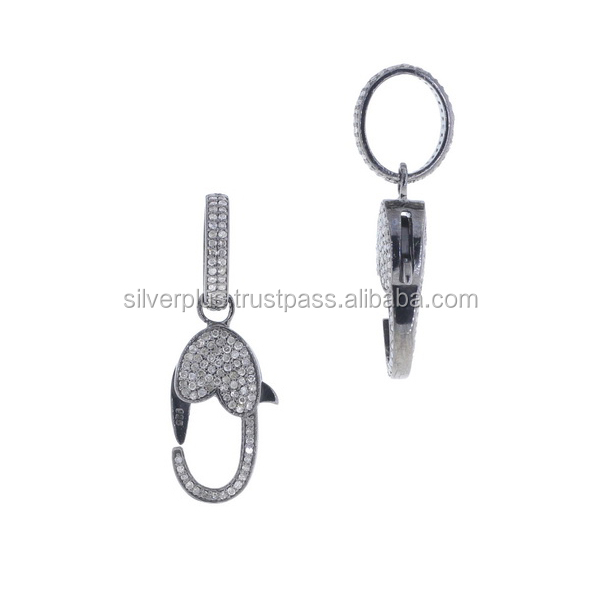 925 Sterling Silver Pave Diamond Lobster Clasp Finding Wholesale Diamond Pave Clasps Supplier