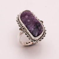925 Solid Silver Ring Natural Sugilite