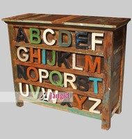 colorful reclaimed and recycle wooden furniture