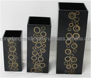 set of 3 vases with incrusted bamboo, 100% high quality MDF Vase