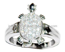 925 Sterling Silver Turtle Ring With White Zircon Silver Turtle Ring Lot of Silver Jewelry