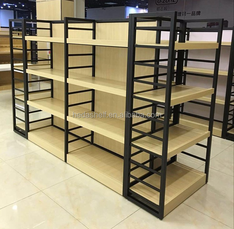 Competitive Price Custom Logo Supermarket Stand Wood Display Shelf