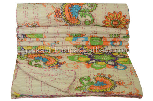 Classic Comfortable print design base Beige Floral Kantha Quilt Bedspread Throw Twin Cotton Blanket Handmade