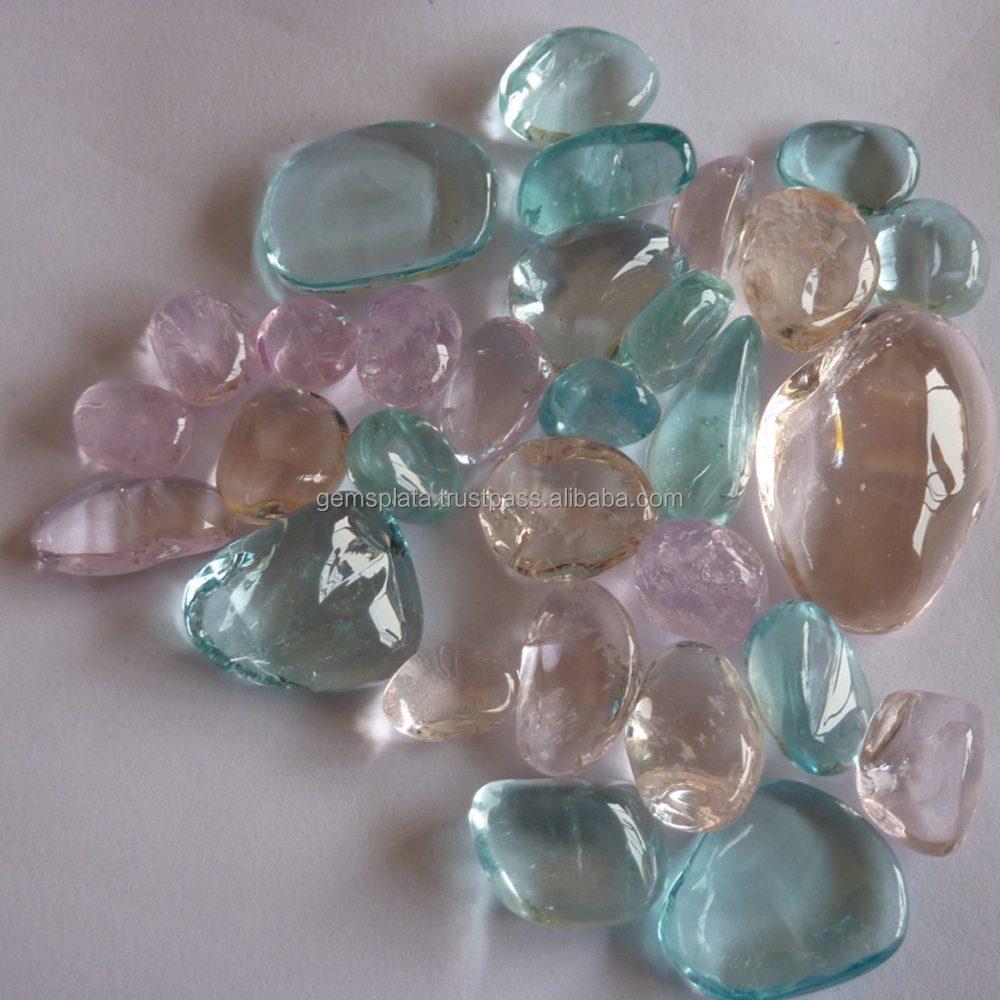 Multy Aquamarine Tumbles 100% Natural Colors Stone Tumbled