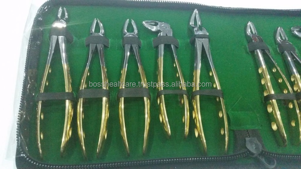 Dental Tooth Teeth Extraction Forceps Gold Handle Best Quality Dental Instruments By Boss