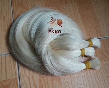 Remy Virgin Blond Hair Bulk Extension Silk Straight Braiding Russian cold color Hair bulk 613 blonde 4pcs Bulk Hair Bundles