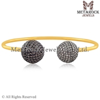 Women Black and White Diamond 925 Sterling Silver Cuff Bangle Bracelet 14k Yellow Gold Plated Jewelry for Gift