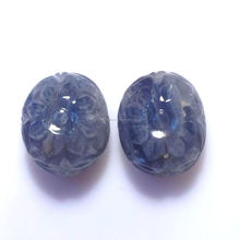 39.3CT/2PC OVAL NATURAL BLUE SAPPHIRE CARVING LOOSE GEMSTONE