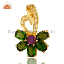 925 Silver Gold Plated Floral Design Pendant Chrome Diopside And Peridot Gemstone Pendants Manufacturer of Gift For Her Jewelry