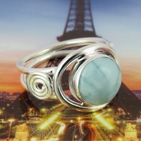 Fabulous Lilac Magic !! Larimar 925 Sterling Silver Ring, Valentine's Wholesale 925 Sterling Silver Jewelry, 925 Indian Rings