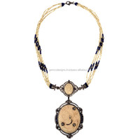 Diamond Blue Sapphire Lariat Necklace Designer Cameo Real Pearl 18k Gold Princess Wedding Pendant Necklace