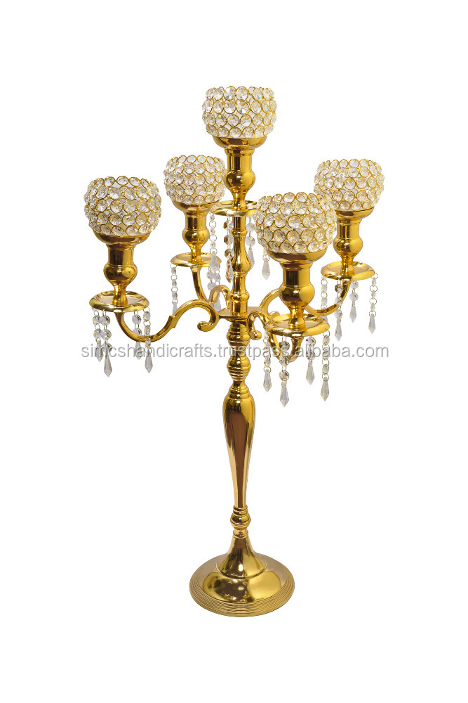 Tall 5 Arm Gold Crystal Ball Candelabras Table Wedding Centerpieces Decoration Votive Candle Holders 80CMS