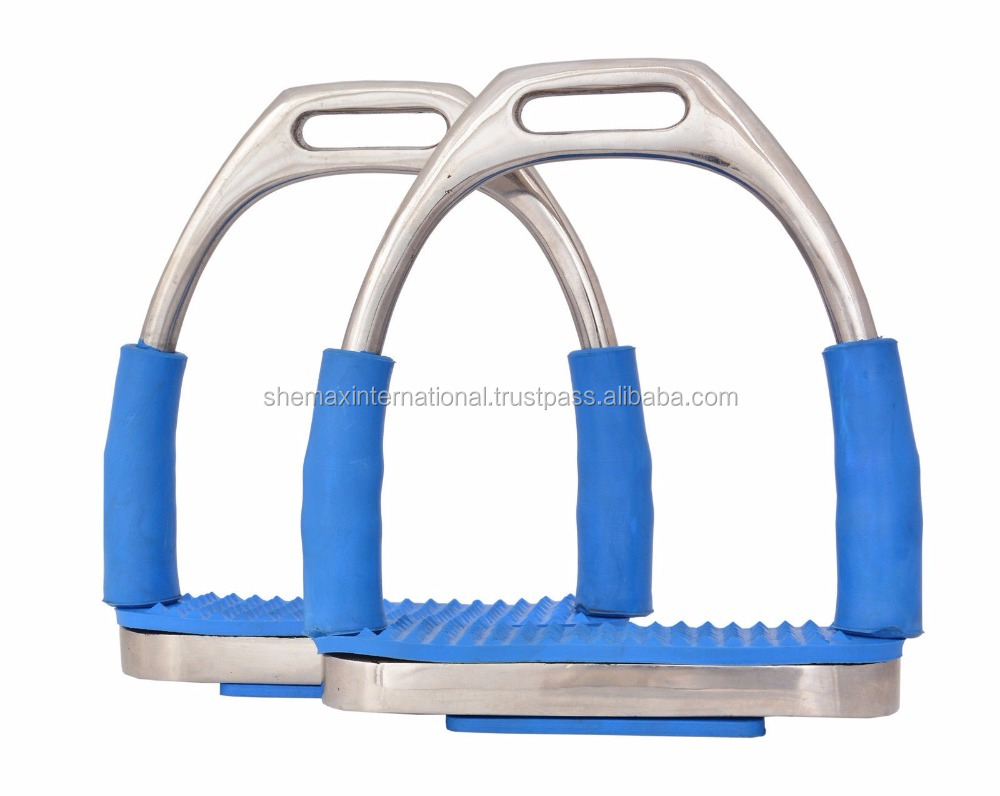 FLEXI SAFETY IRONS STIRRUPS HORSE RIDING BENDING STAINLESS STEEL