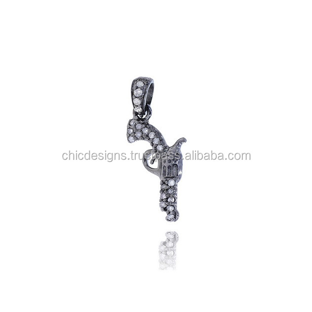 Fashionable Gun Charm Pave Diamond Jewelry Wholesaler