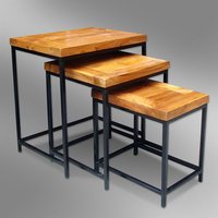 Modern Nestling End Table in Teak combine metal - Makassar Design
