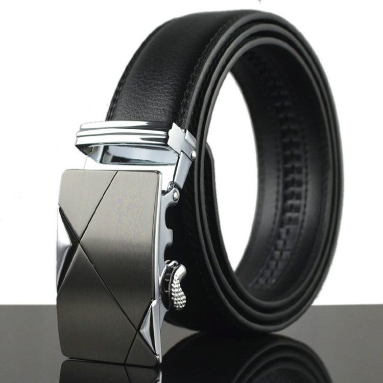 ab126 Men Dress Genuine Leather Automatic Buckle Belt