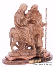 Flight To Egypt Olive Wood Statue Zuluf - ART021