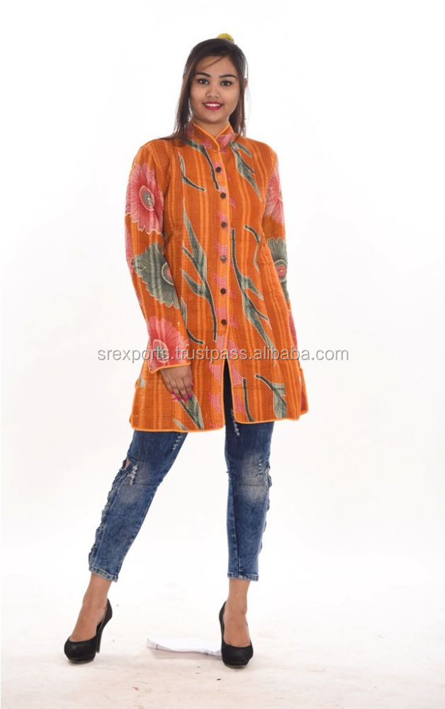 Handmade Cotton Kantha Quilted Jacket Women Long Coat