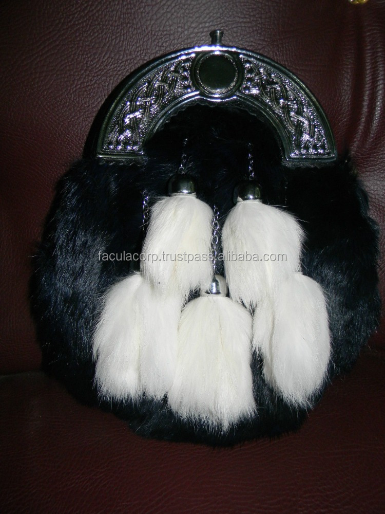 GENUINE WHITE RABBIT FUR & LEATHER SCOTTISH SPORRAN &CHAIN BELT 5 FUR TASSELS FC-14544
