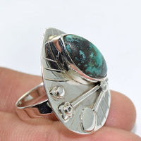 Solid 925 Sterling Silver Natural Tibet Turquoise Top Ring Designer Jewellery