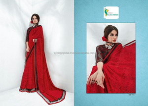 Plain georgette crepe sarees for daily wear for dubai qatar karachi - Indian sarees wholesale online - Surat sarees online
