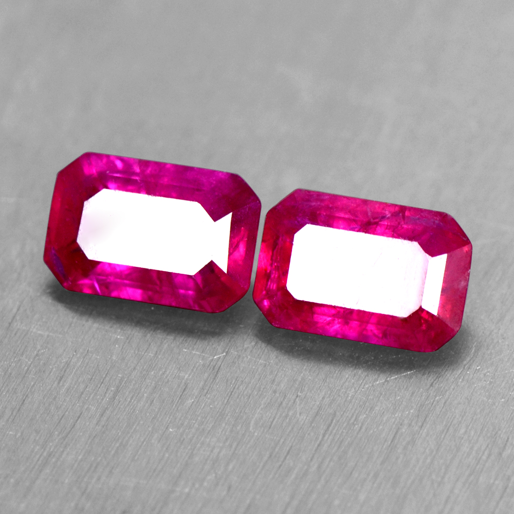 1.27 Cts Natural Top Blood Red Ruby Gemstone Pair Emerald Cut 6x4 mm Burma