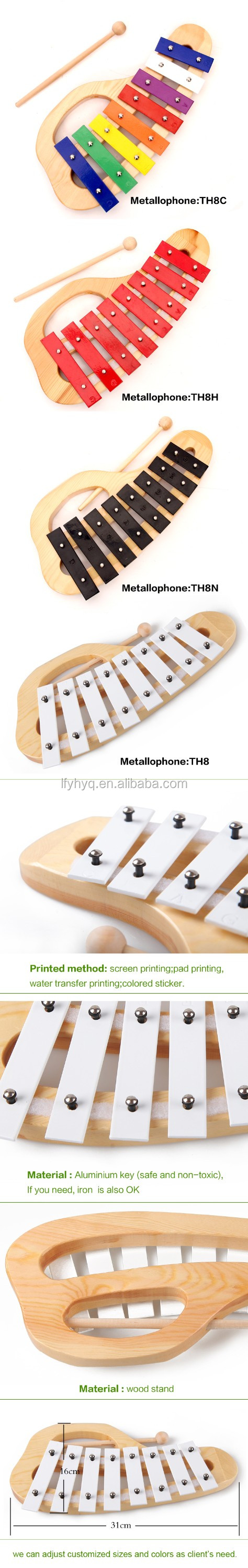 Metal xylophone with wooden stand musical instrument percussion metallophone