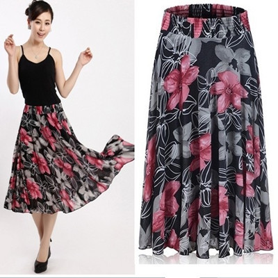 High quality printed 100% cotton long skirts,maxi skirts wholesale