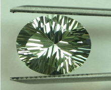 Natural Green Amethyst Four Step Fancy Concave Cut