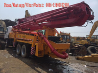 37m Japan concrete pump truck, 26ton/8*4-LHD-Drive Used Isuzu-Chassis Putzmeister Concrete-Delivery Pump Truck for sale