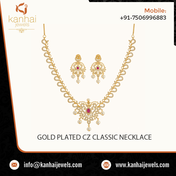 Hot Selling of Exquisite Carving Chain Gold Plated CZ Necklace