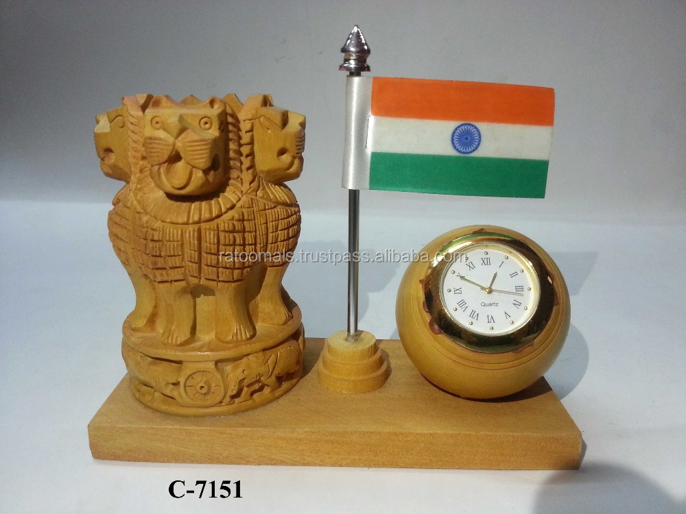 Wooden Ashoka Pen Stand W/Clock & Flag