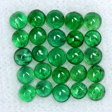 Loose Gemstone, Wholesale Loose Gemstone For Silver Jewelry 3.21 Cts Natural 3 mm Emerald 25 Pcs Round Cabochon Lot Zambia